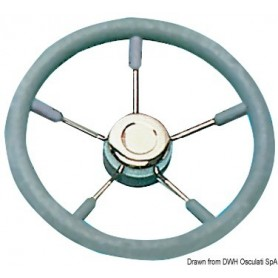 Steering Wheel With Stainless Steel Spokes Grey