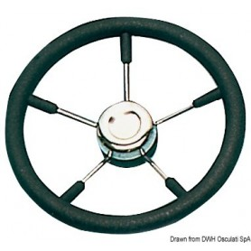 Steering Wheel With Stainless Steel Spokes Black